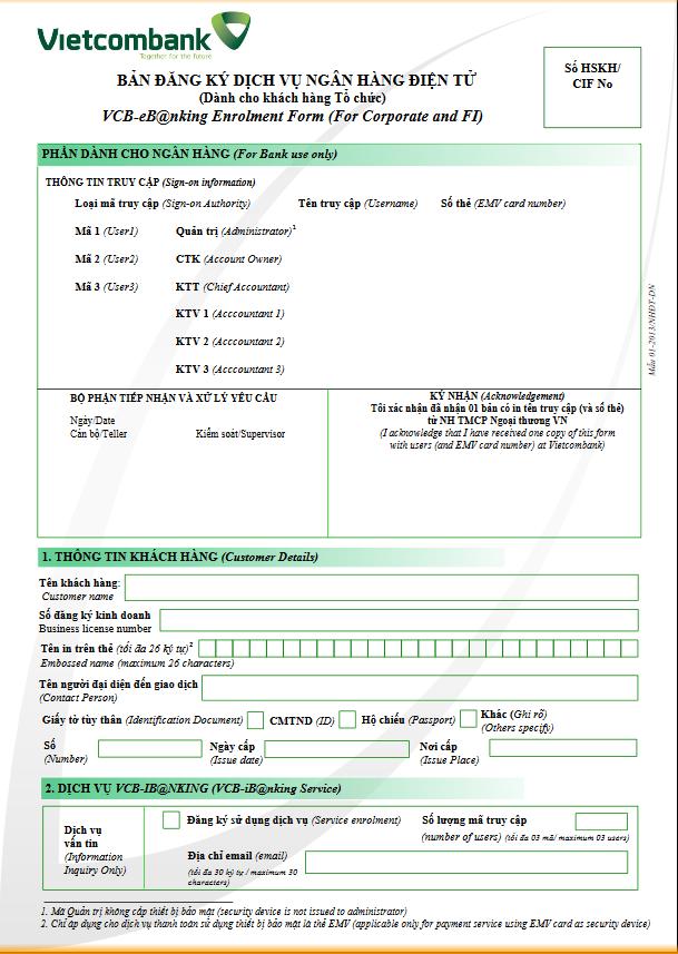 đăng ký dịch vụ internet banking vietcombank
